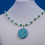 Summer Colors Necklace with Shimmering Stamped Clay Focal Component