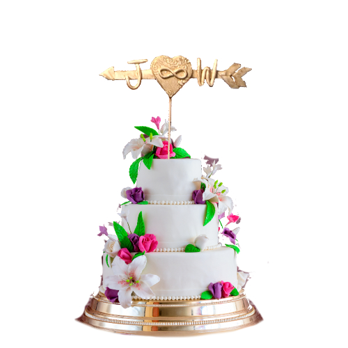 Personalized Heart and Arrow Cake Topper