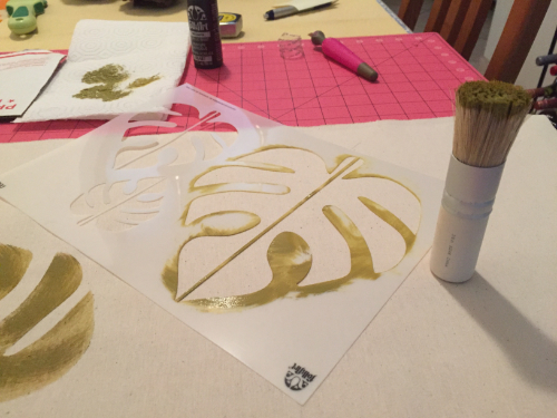 Stenciled Tropical Table Runner 3