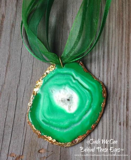 Faux Green Geode Slice Pendant (watermarked)