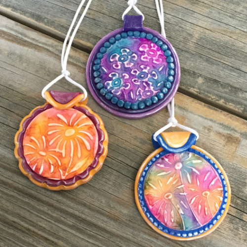 Faux Batik Pendants